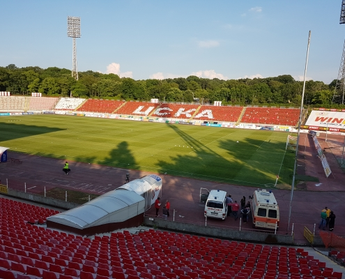 A picture of the Bulgarian Army Stadium pitch
